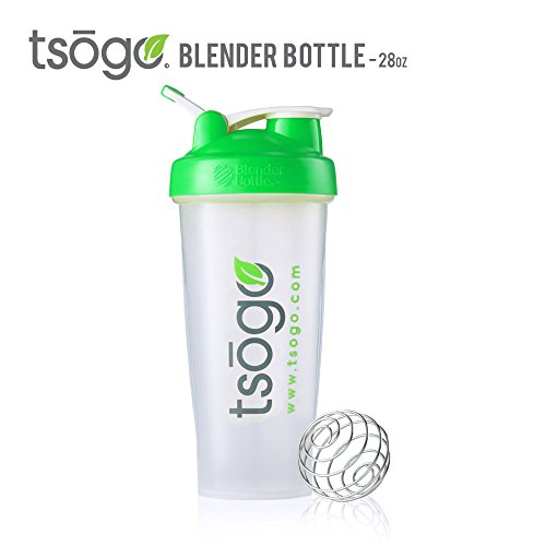 28oz Tsogo BlenderBottle Classic Shaker Bottle With Loop, Clear Green, Powdered Drink Mixer Bottle Made of... by Tsogo