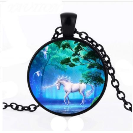 Unicorn In the Forest Carbon Glass Pendant Black Anti-Tarnish Jewelry, (Glass Small Pendant Jewelry)