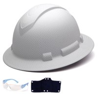 Acerpal Full Brim Hard Hat 4 Pt Graphite White Shiny,Hard Hat Sweatband,1 Pair Safety Glasses,American Flag Decal