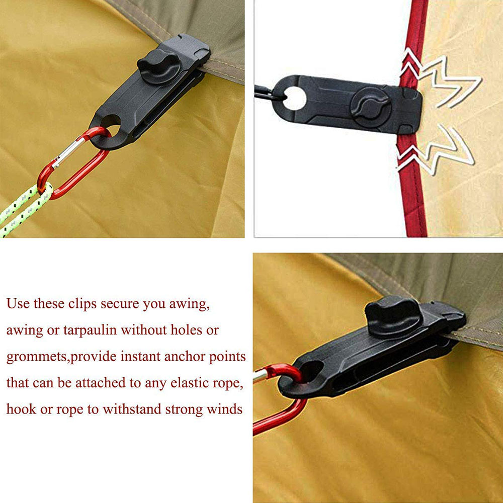 12 Tarp Clips Heavy Duty Lock Grip Clamps Thumb Screw Tent Clip Secures Tarps Awning Clamp Set for Camping Tarps Awnings Caravan Canopies Car Covers Swimming Pool Covers Boat Cover etc.