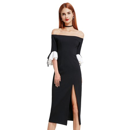 Sexy Off Shoulder Cocktail Dress Tea Length Little Black Party Dress -