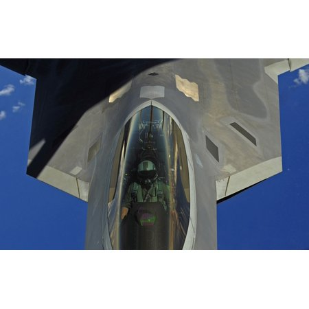 February 16 2010   A Us Air Force F 22 Raptor Pilot Receives Fuel From A Kc 135 Stratotanker Near Guam Poster Print