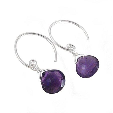 (Stunning Gemstone Drop on Open Circle Hook Earrings, Amethyst)