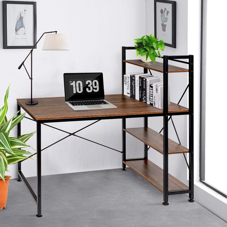 Contemporary Bookshelf Design Computer Office Writing Desk Modern Steel Base