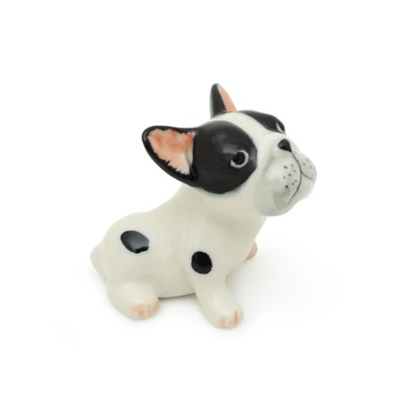 (Miniature Ceramic Malone-Brindle Pied French Bulldog Figurine Animals Collection)