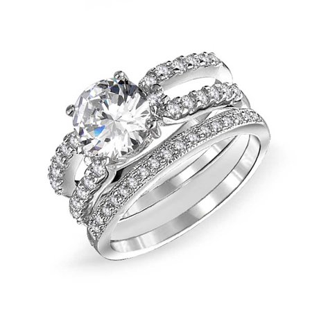 Pave Cubic Zirconia Solitare 925 Sterling Silver Round Double Band CZ Engagement Wedding Ring (Stackable Wedding Ring Set)