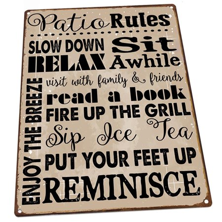 """Patio Rules 9""""x12"""" Metal Sign, Wall Decor for Office or Meeting Room"""