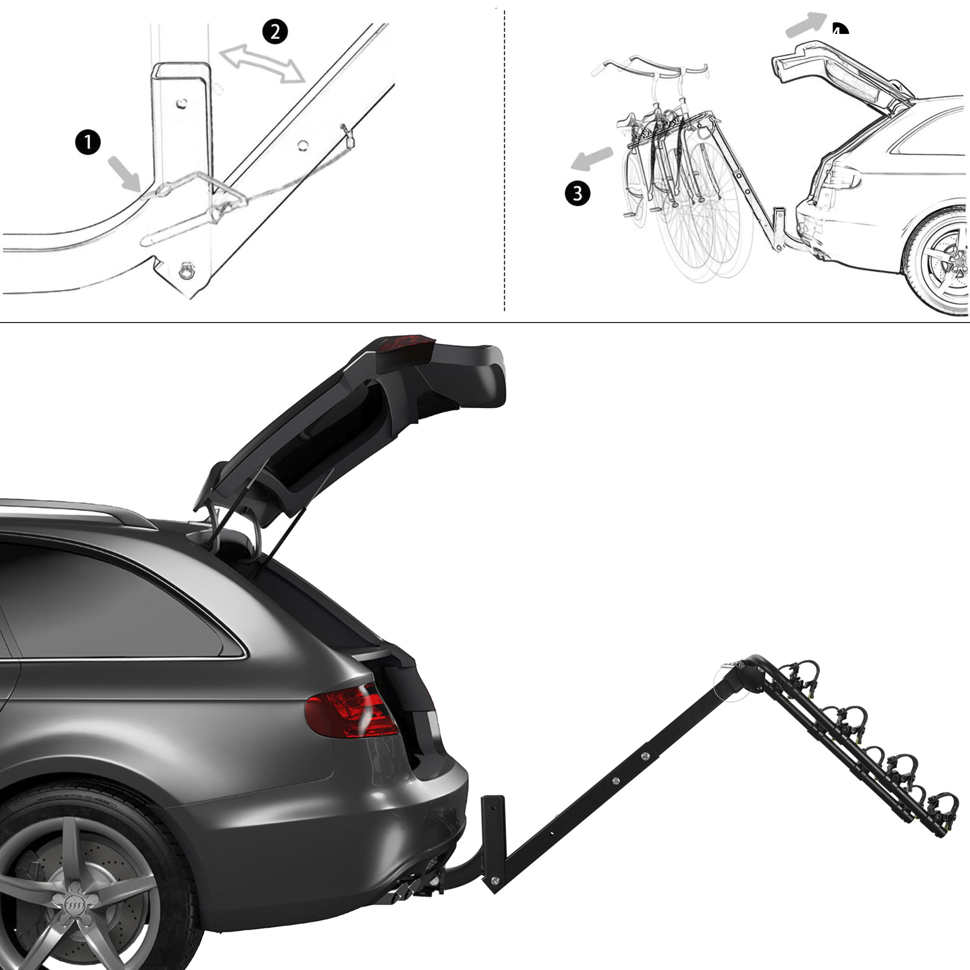 2-Bike Carrier Rack Hitch Mount Swing Down Bicycle Rack For 2-Inch Receiver