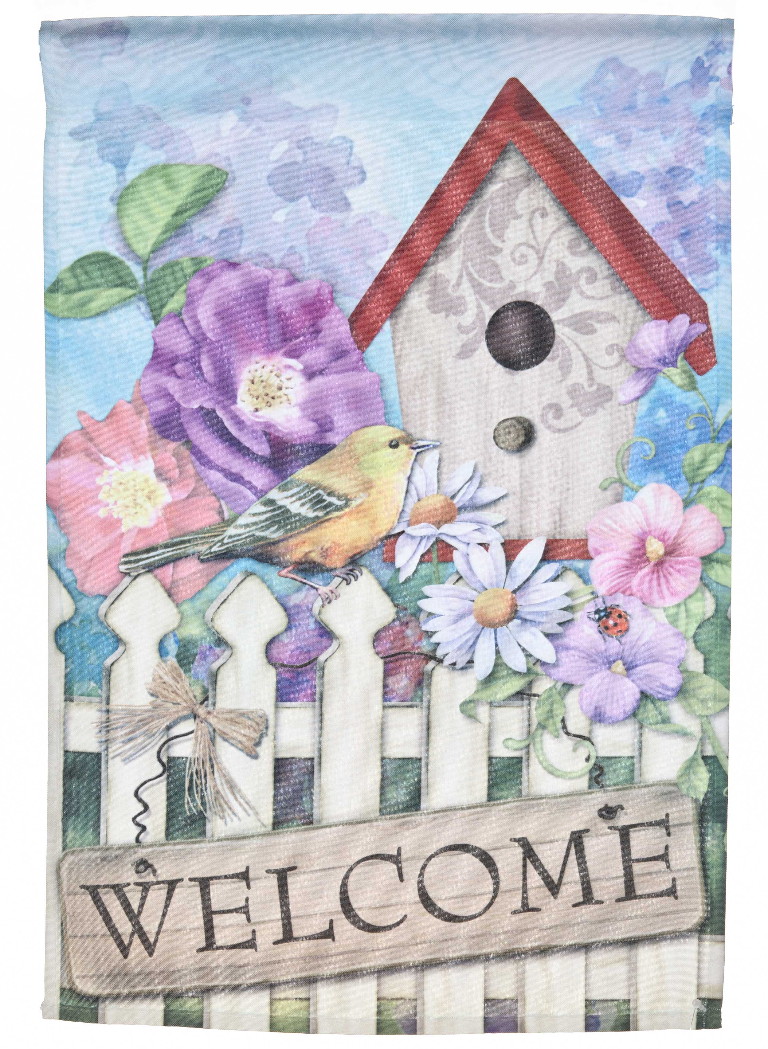 Spring Time Birdhouse Welcome Lawn Flag by Garden Accents (12 x 18 Inch) by