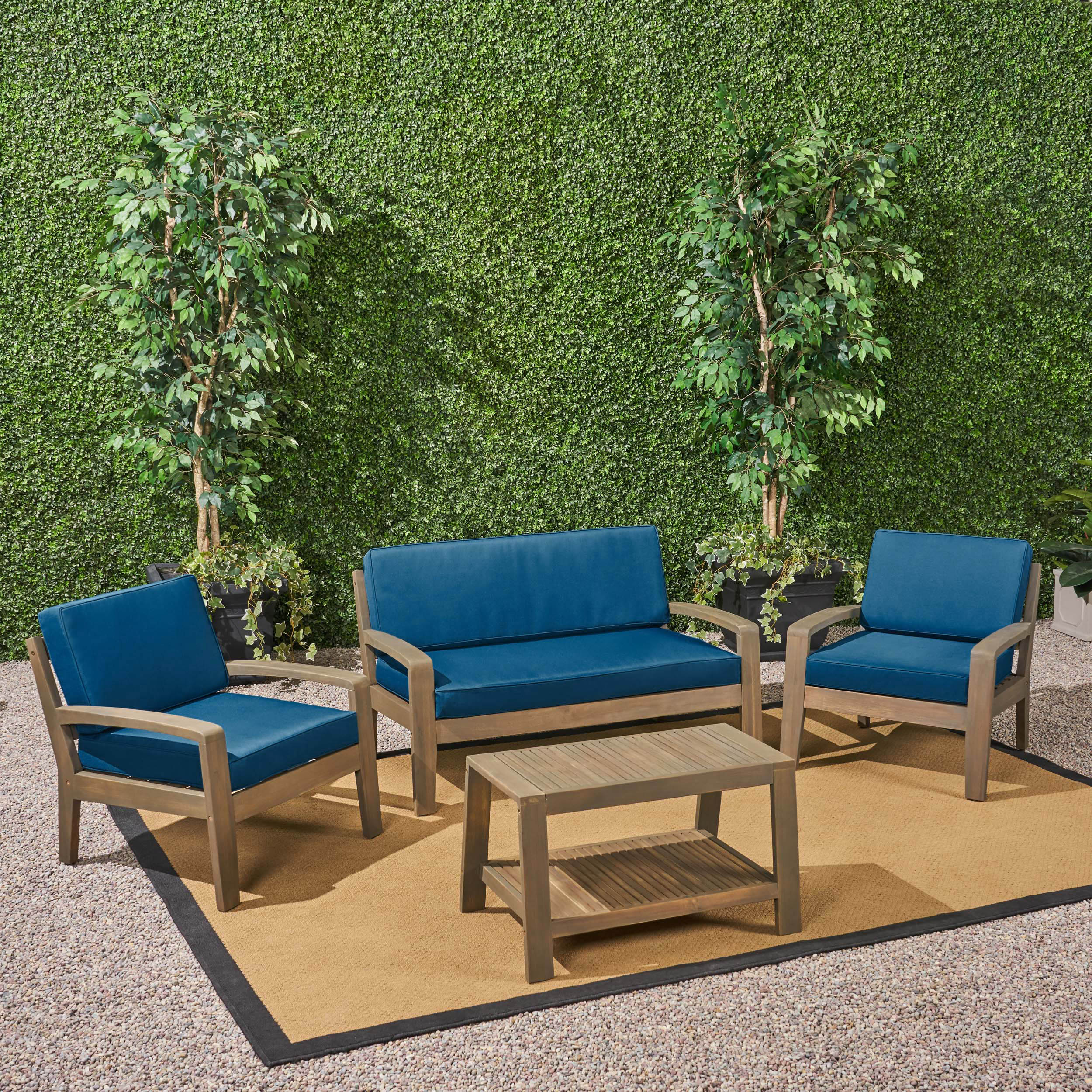 Wilcox Outdoor 4 Piece Acacia Wood Conversation Set with Cushions, Gray, Dark Teal