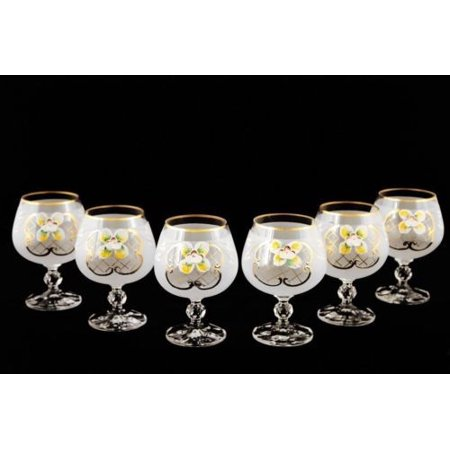 - Bohemian Crystal Colored Glasses, 6-pc Vintage WHITE Brandy Cognac Snifters