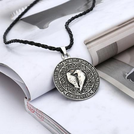 Viking Shield Pendant (Outtop Norse Viking Pendant Necklace Valknut Raven Pendant Runa Talisman Amulet Knot )