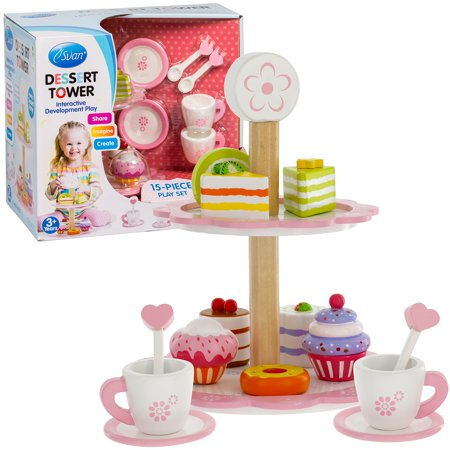 Tea Set and Dessert Tower Toy 15 pc, Cups, Tower and Miniature Cakes and Sweets