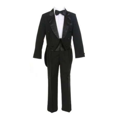 Sweet Kids Boys Black Tails Coat Shirt Bow Tie Pants Tuxedo Suit 8-20