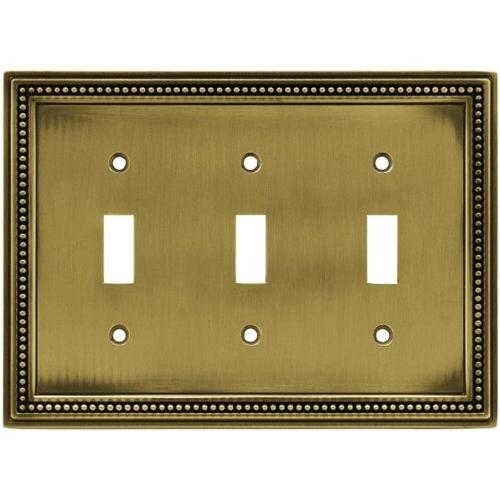 Brainerd Beaded Triple Switch Wall Plate, Available in Multiple Colors