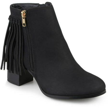 Beautiful Leather Ankle Boot (Women's Faux Leather Stacked Heel Fringe Ankle)