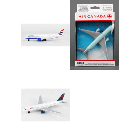 "British Airways, Air Canada, Delta Airlines Diecast Airplane Package - Three 5.5"" Diecast Model Planes"