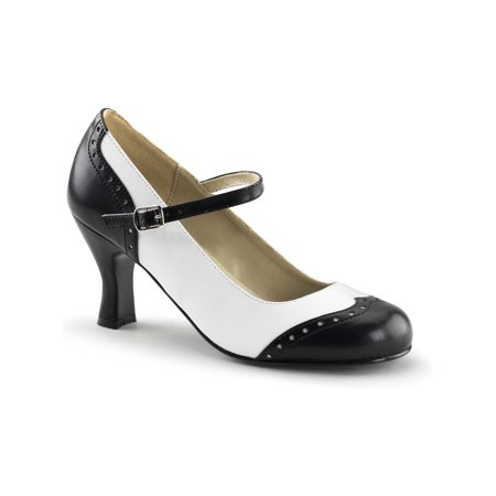 Womens Black and White Mary Jane Shoes with 3 Inch Chunky Heels and Round