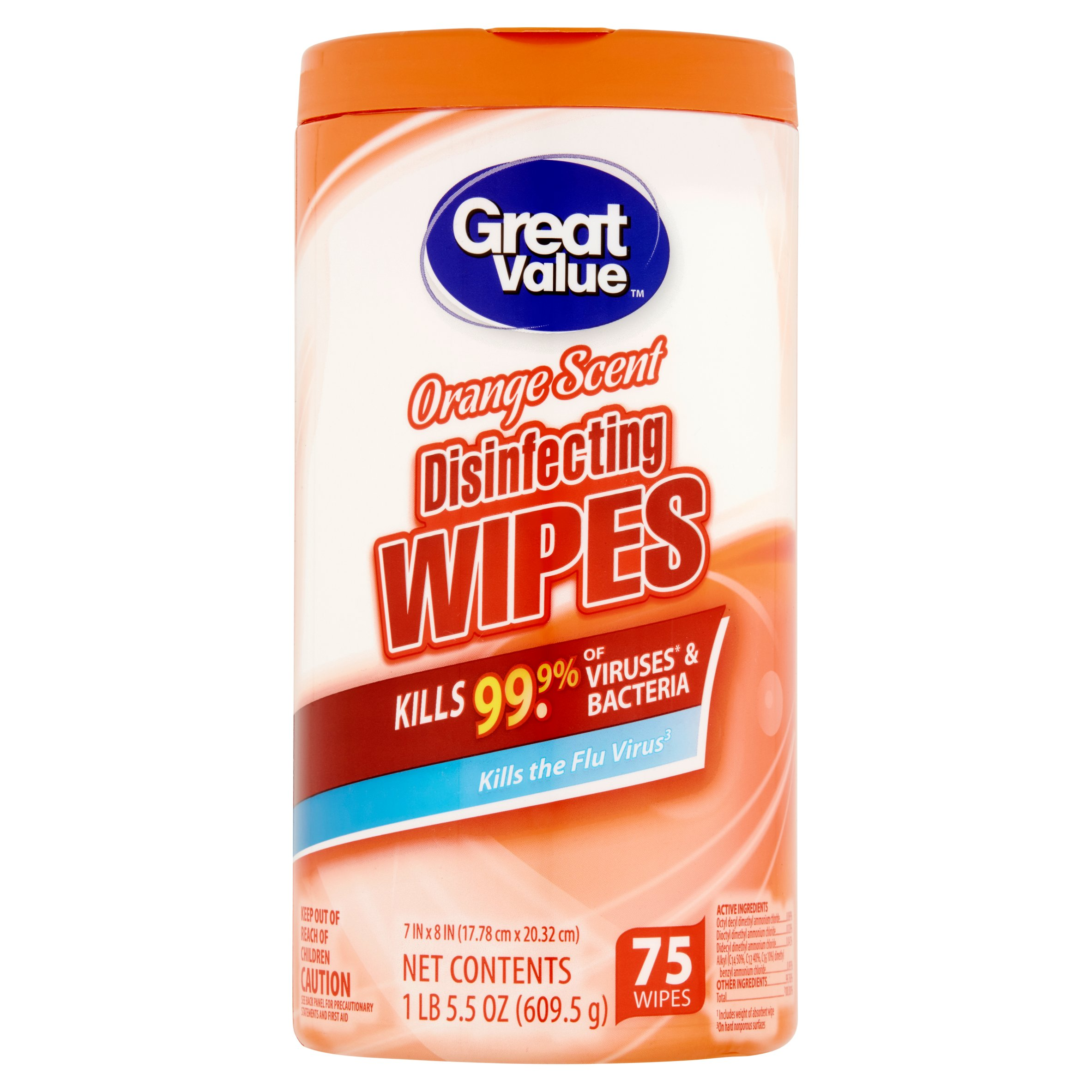 Great Value Disinfecting Wipes, Orange, 75 Count