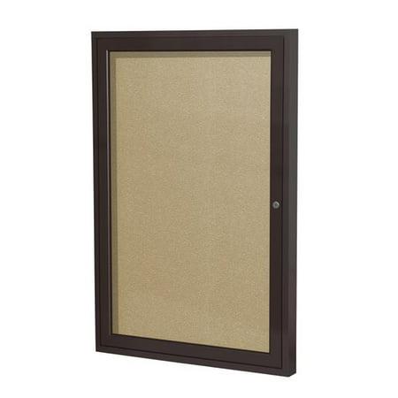Outdoor Enclosed Aluminum Bulletin Board (Ghent Ghent 1 Door Enclosed Vinyl Bulletin Board with Satin Frame )