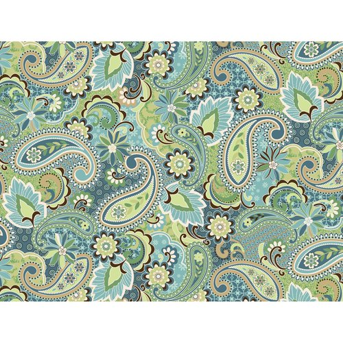Kentshire Cotton Fabric, Paisley Turquoise