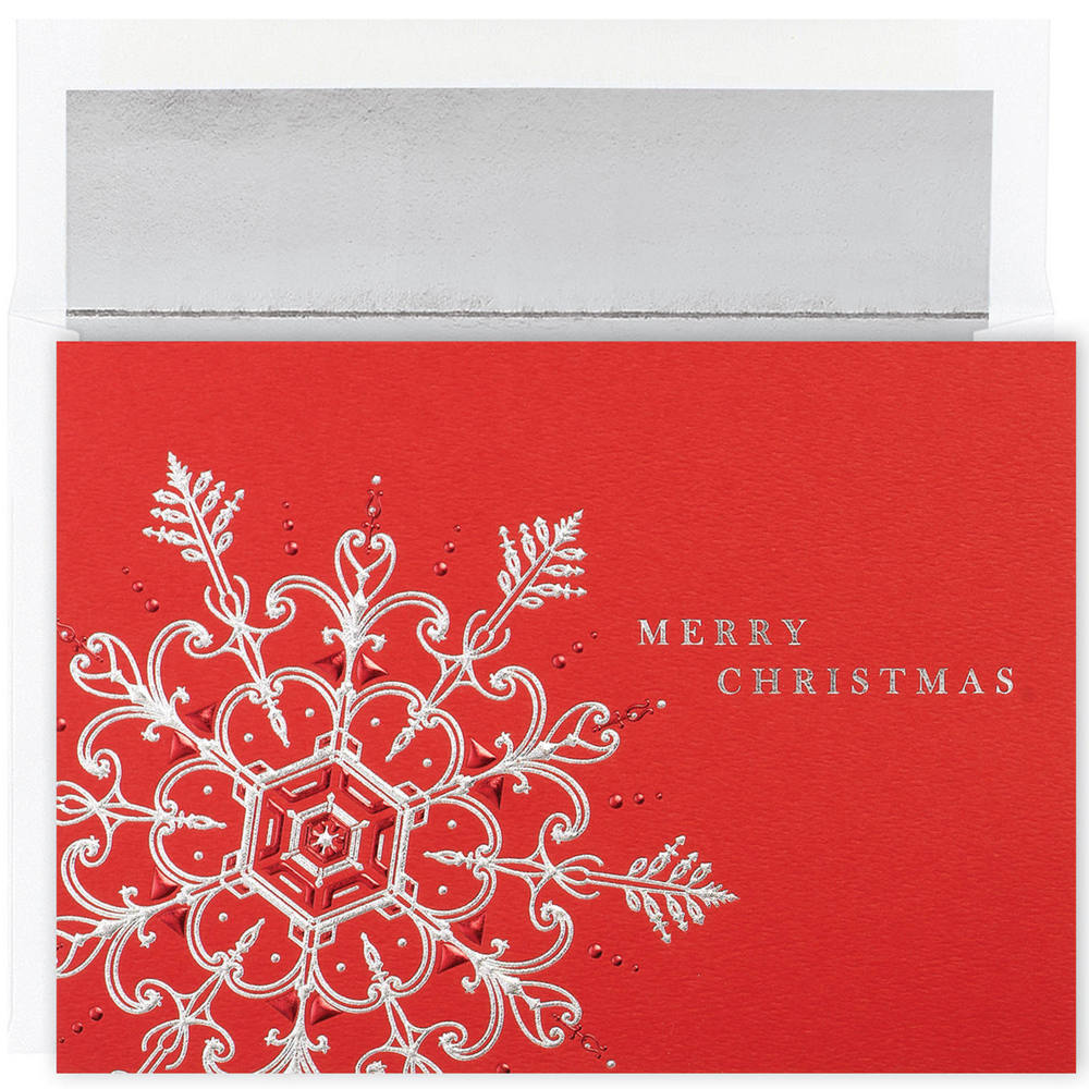 JAM Paper Christmas Card Set, Silver & Red Flake Holiday Cards, 16 Cards & Envelopes/Pack