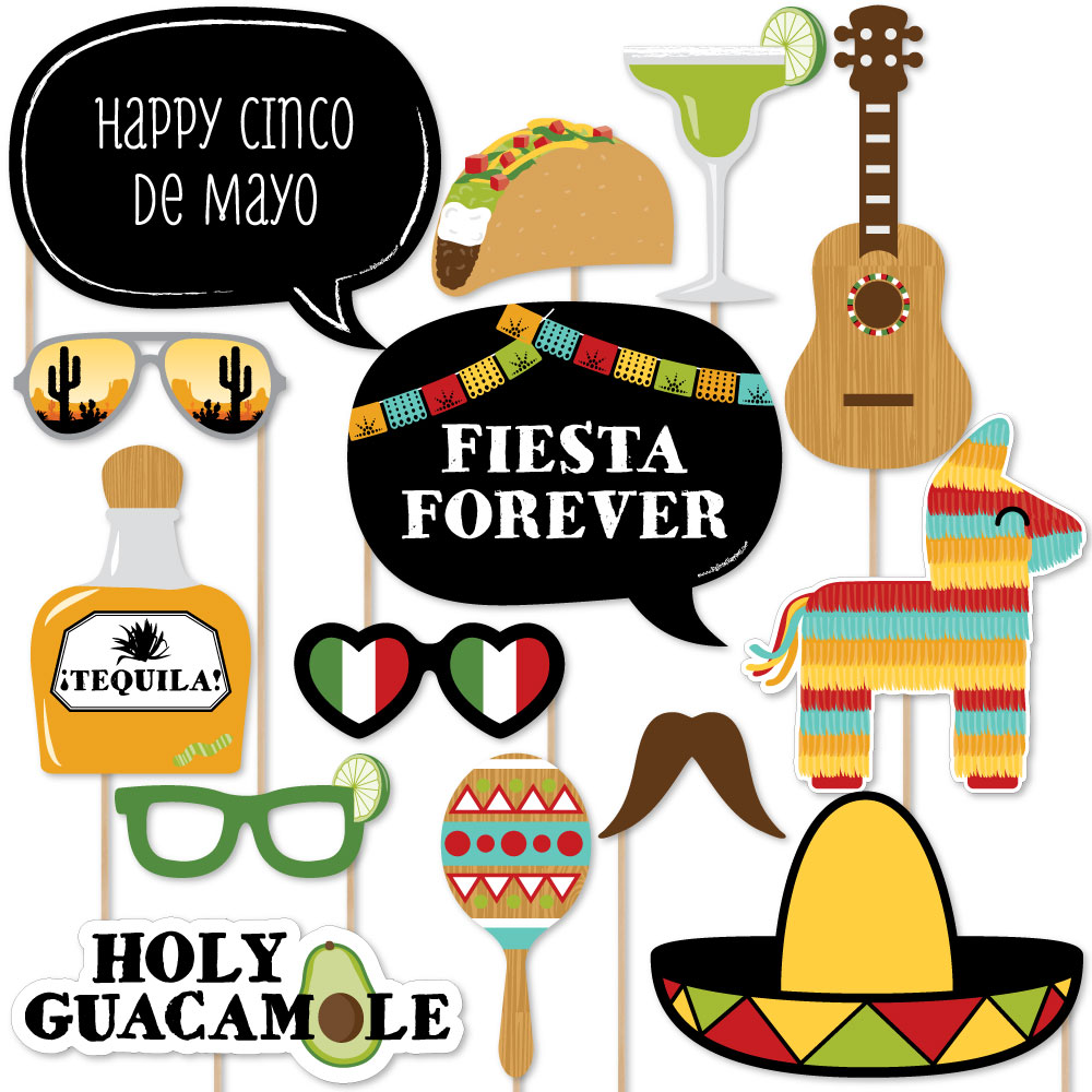 Cinco de Mayo - Mexican Fiesta Photo Booth Props Kit - 20 Count