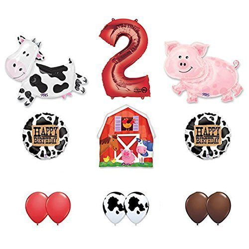 Barn Farm Animals 2nd Birthday Party Supplies Cow, Pig, Barn Balloon Decorations by