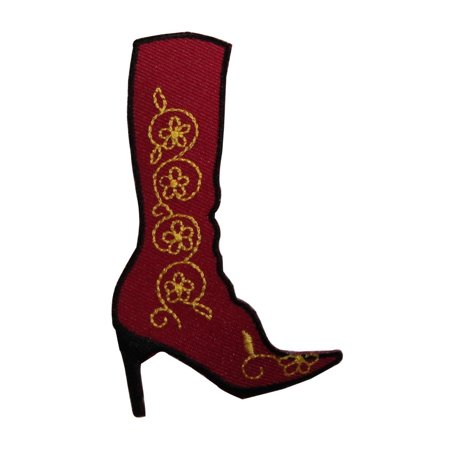 ID 7950 Floral High Heel Boot Patch Country Fashion Embroidered Iron On - Boot Patch