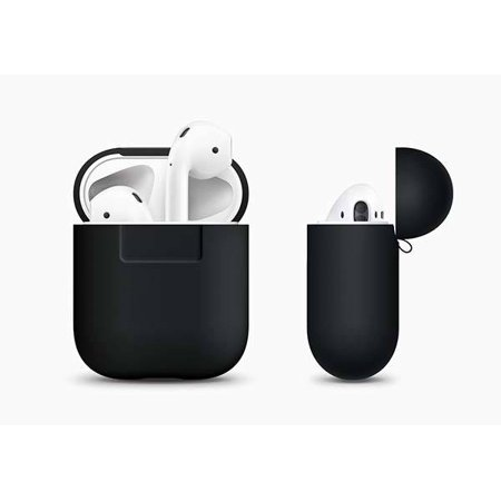 AirPods Silicone Case Cover Protective Skin for Apple Air Pods Charging Case (Black)