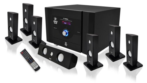 """PYLE Audio PYLPT798SBAB 7.1 Channel Home Theater System with Satellite Speakers and Bluetooth"" by Pyle"