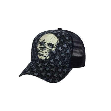 PRO STYLE MESH FITTED GLOW IN THE DARK SKULL HAT, Small Medium