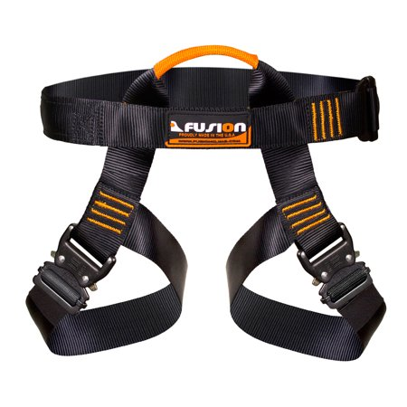 Fusion Climb Concerto Half Body Harness Black M-XL Quick Release Buckles Climbing Gym Rope Course