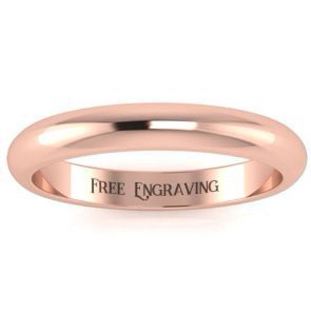 10K Rose Gold 3MM Heavy Comfort Fit Ladies and Mens Wedding Band Size 12 Free Engraving