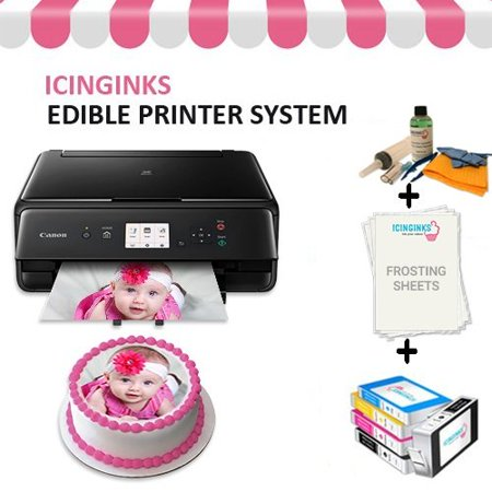 Edible Cake Printer Bundle Package – Canon Edible Image Printer, Edible Ink Cartridges, Frosting Sheets, Edible Cleaning Kit, Free Image Designing Lifetime, Edible Printer for Cakes by (Best Edible Ink Printer)