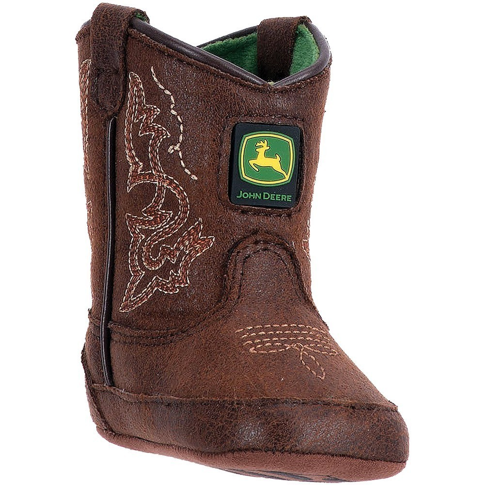 John Deere Boys Girls Dark Rust Stitch Detail Pull-On Crib Boots by John Deere
