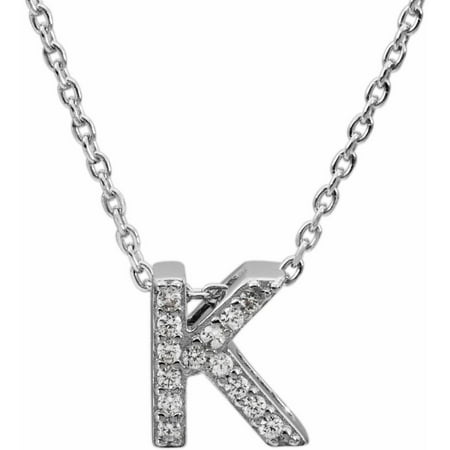 """CZ Sterling Silver Block Initial """"K"""" Necklace, 18"""" Chain"""
