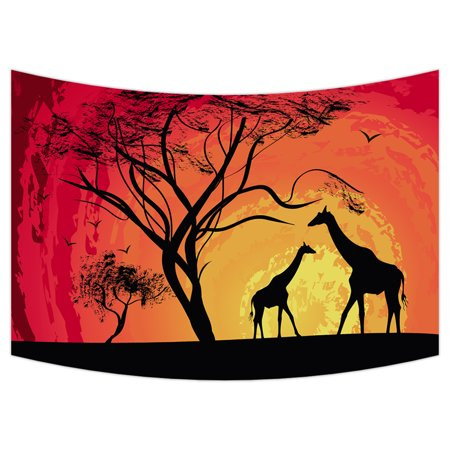 YKCG African Safari Animal Tree of Life Sunset Giraffe Wall Hanging Tapestry Wall Art 90x60 inches