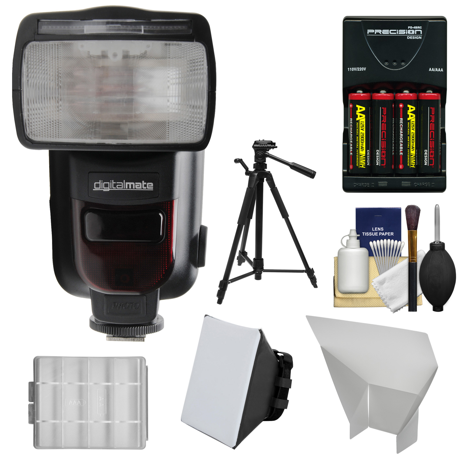 Digitalmate 780 Power Zoom AF E-TTL Flash with LCD Display + Batteries & Charger + Soft Box + Bounce Reflector + Tripod Kit for Canon EOS DSLR Camera