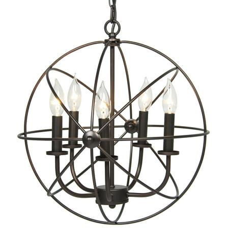 Best Choice Products Industrial Vintage Lighting Ceiling Chandelier 5 Lights Metal Hanging Fixture