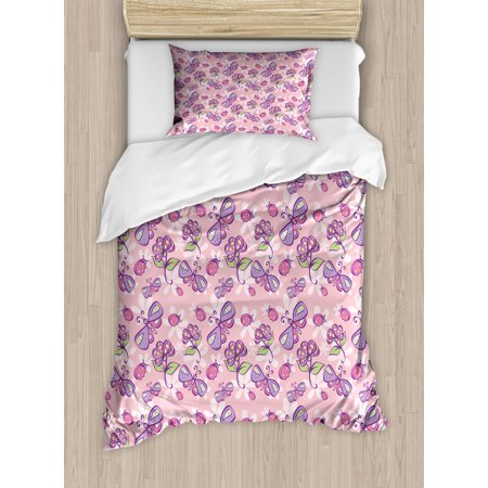 Floral Twin Size Duvet Cover Set, Butterflies Flowers Cartoon Stylized Kids Girls Baby Playroom Nursery Theme, Decorative 2 Piece Bedding Set with 1 Pillow Sham, Pale Pink Lavander, by Ambesonne