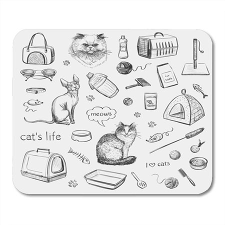 SIDONKU Cats and Products for Accessories Pets Toys Food Sketches Mousepad Mouse Pad Mouse Mat 9x10 inch (Pet Mouse Accessories)