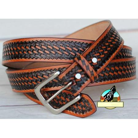 30-60  Tackrus Handmade Basket Weave Tool Western LEATHER MENS BELT Tan 2609RS03 (Left Handed Tool Belt)