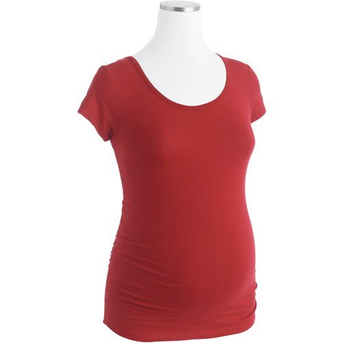 Planet Motherhood Maternity Scoopneck Tee with Flattering Side Ruching