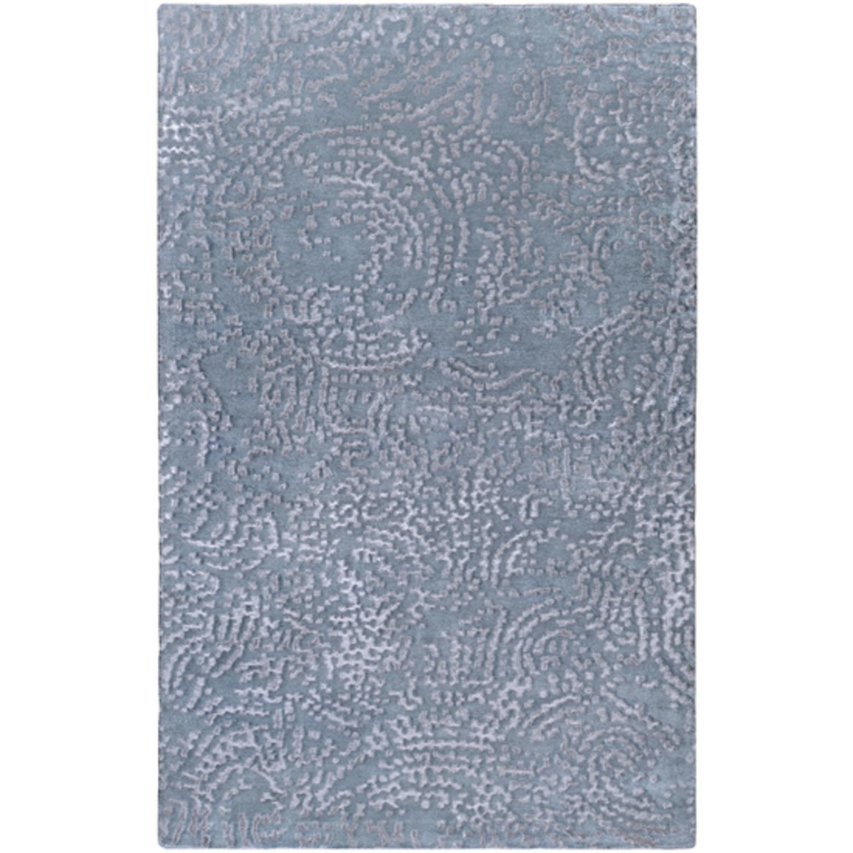 2' x 3' Antiqued Mosaic Pewter Blue Wool Area Throw Rug