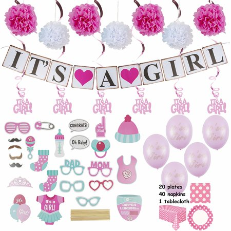 Baby Shower Decorations for a Girl :: Over 100 Pieces in Kit :: Elegant Pink Décor with Hanging Banner, Balloons, Props, Flower Pom Poms, Swirlers, Napkins, Plates & Table -