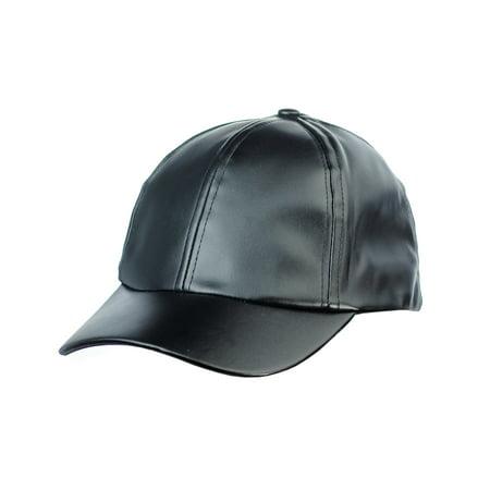 NYFASHION101 Unisex Soft PU Leather Precurved Baseball Cap, (Black Leather Baseball)