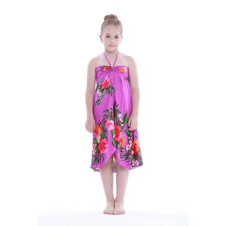 Girl Hawaiian Butterfly Dress in Hibiscus Floral Colorful in Purple Size 2