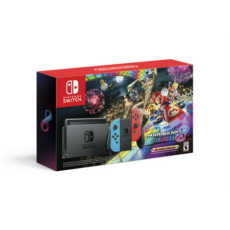 Nintendo Switch Bundle with Mario Kart 8 Deluxe - Neon