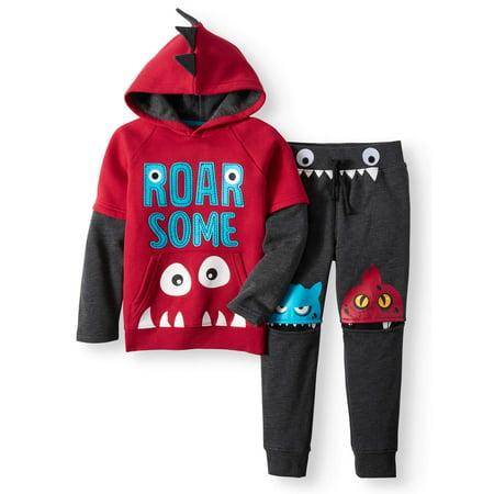 Fleece Hoodie & Fleece Monster Jogger, 2pc Outfit Set (Little Boys & Big Boys)